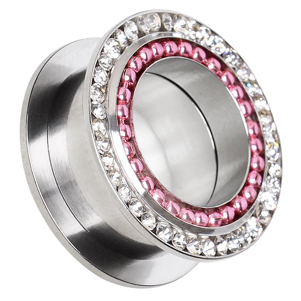 Cocobul Body Jewelry Pair of Screw Fit Plugs with Pink PVD Plated Bead and Clear CZ////Choose Size