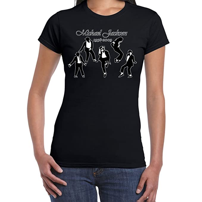 931dd2e901835 Amazon.com  Womens Funny T Shirts-Michael Jackson 1958-2009 Dancing  Silhouttes-Tshirt  Clothing