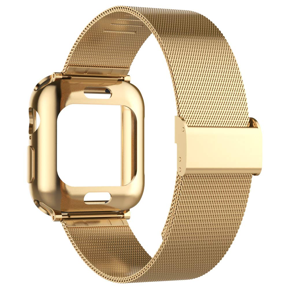Mostof Compatible with Apple Watch Series 3/2/1 Band 42mm, Stainless Steel Strap with Case Protector Accessories Replacement for Apple Watch Series 3/2/1 Men Women (Gold, 42mm) by Mostof