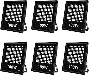 Ankishi Focos LED Exterior 6 Pack 100W, Proyector Reflector de ...