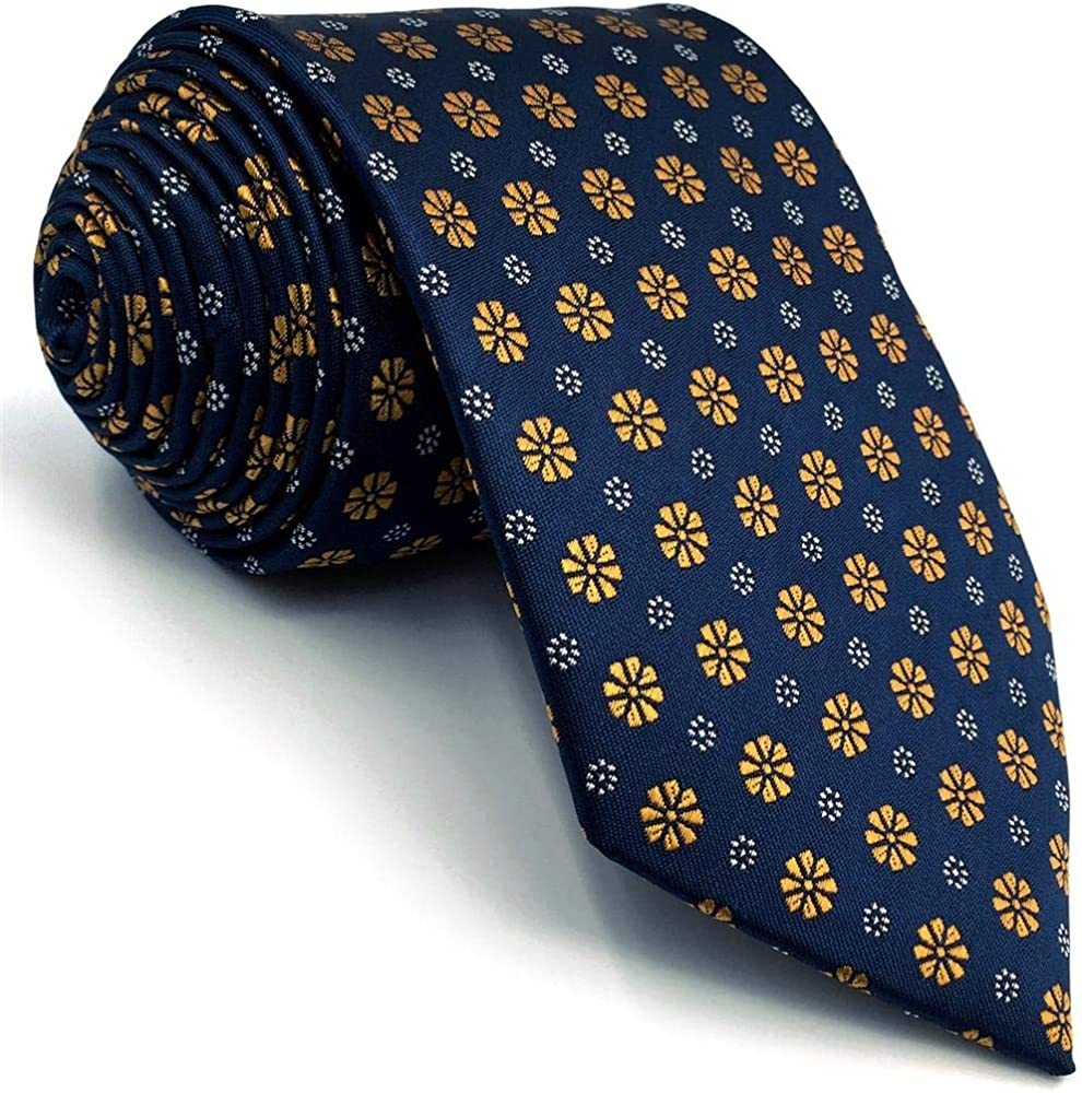 S/&W SHLAX/&WING Corbatas Para Hombre Azul Naranja Floral Set Classic