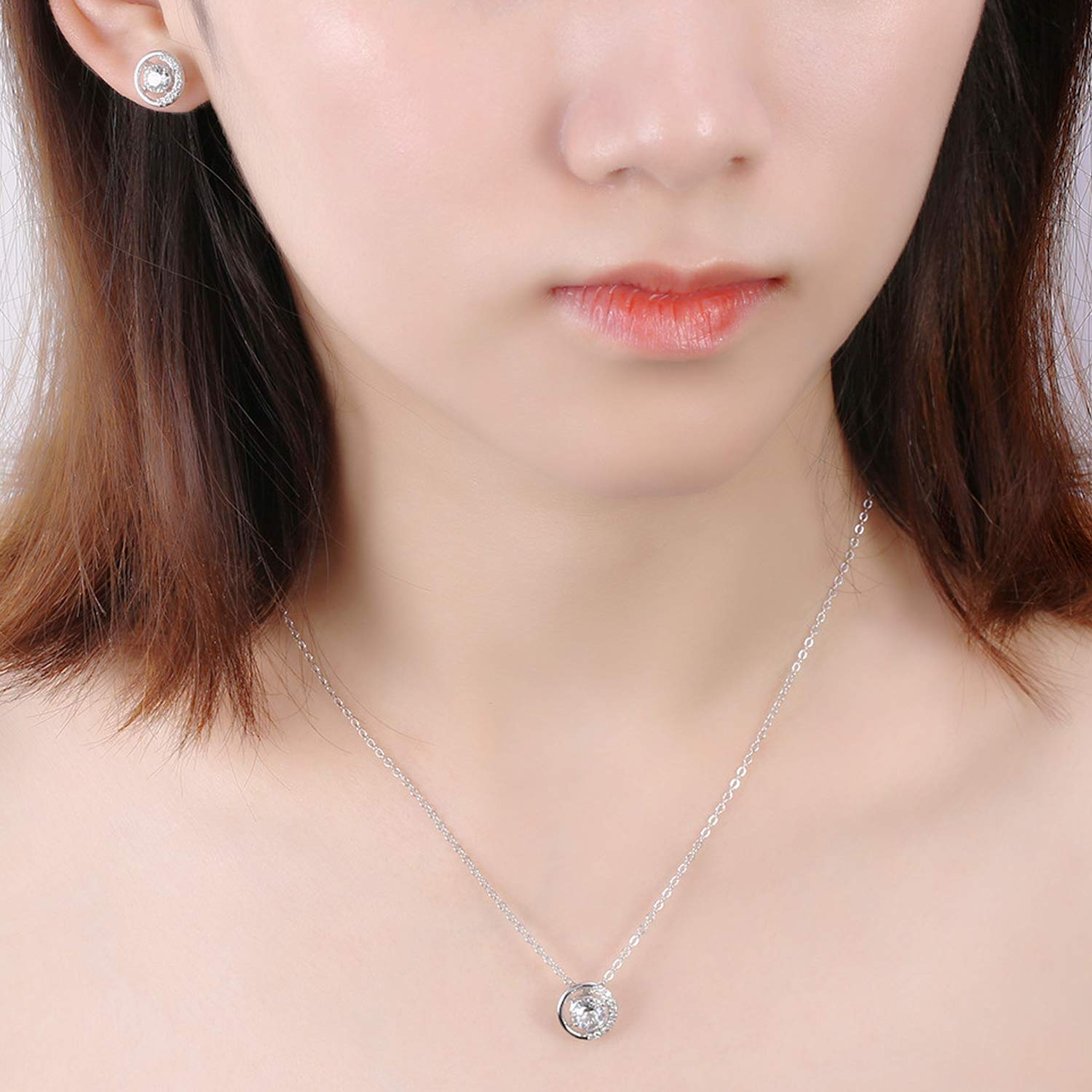 2b0750992 Gercia 14K Rose Gold Jewelry Set 5A Cubic Zirconia Pendant Necklace and Stud  Earrings ...