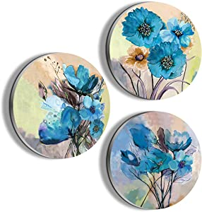 Boxuan Wall Art for Dining Room Blue Flower Painting Wall Decor Oil Painting Canvas Prints for Home Decorations Decor to Hang for Bathroom Bedroom Living Room Kitchen Wall Decor