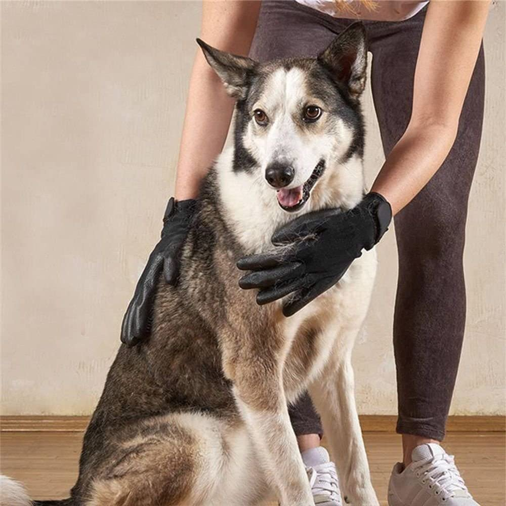 Shedding Massage Tool Bath Comb Hair Remover Dog Grooming Gloves Pet Brush Horse Cleaner Black L Code