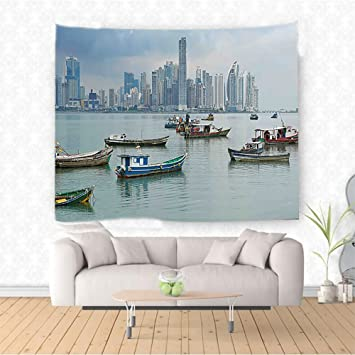 Amazon Com Nalahome Landscape Anchored Fishing Boats Skyscrapers