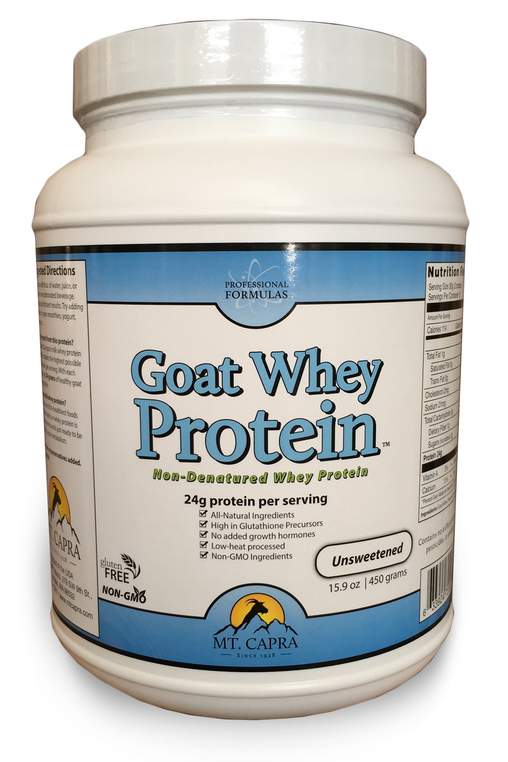 Goat Whey Protein by Mt. Capra | Grass-Fed Undenatured Whey Protein Concentrate Powder from Pastured Goats, All-Natural, NonGMO and High in Glutathione Precursors | Unsweetened