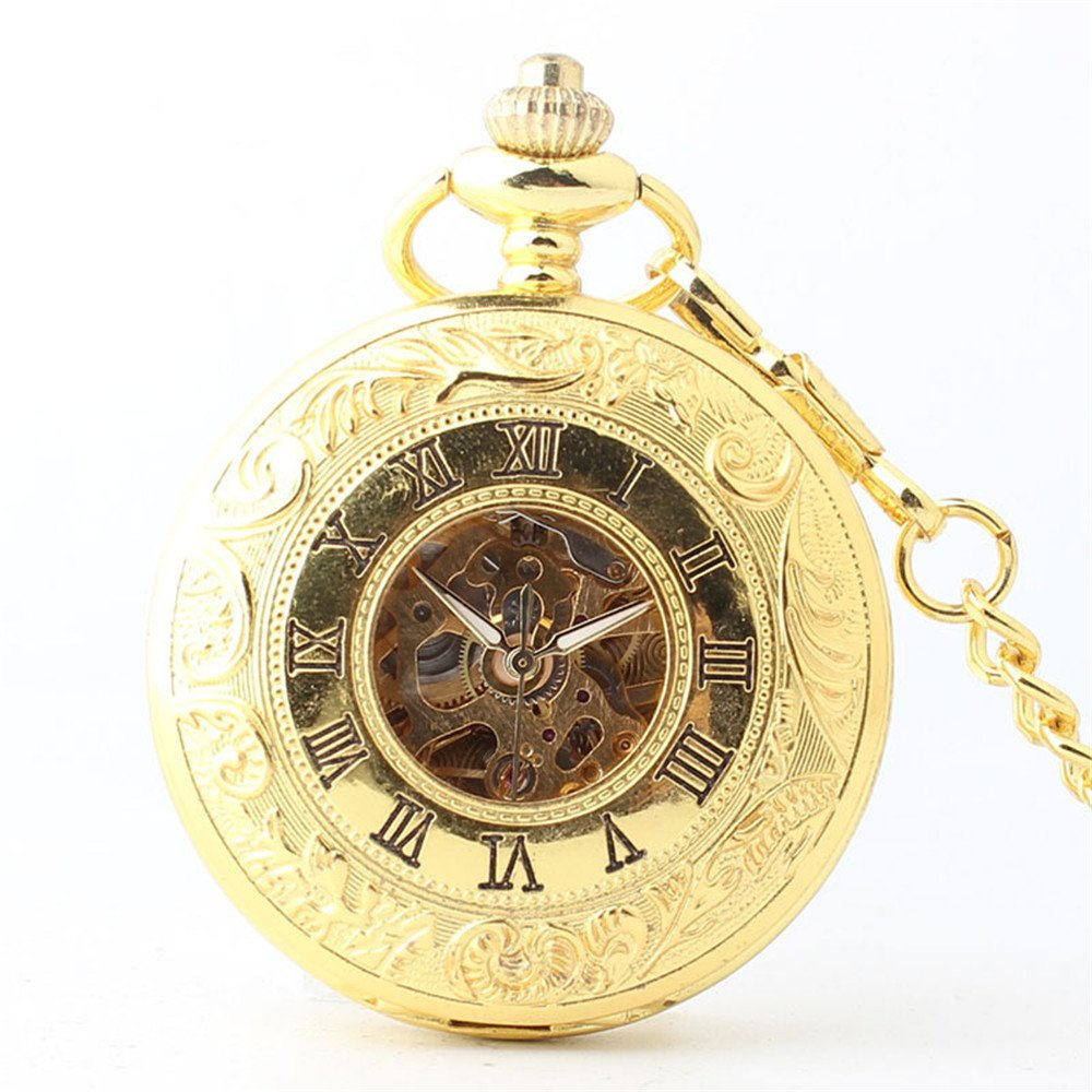 Shirleyle Exquisite Golden Pocket Watch Boutique Double Open Men's And Women's Business Mechanical Pocket Watch With Chain