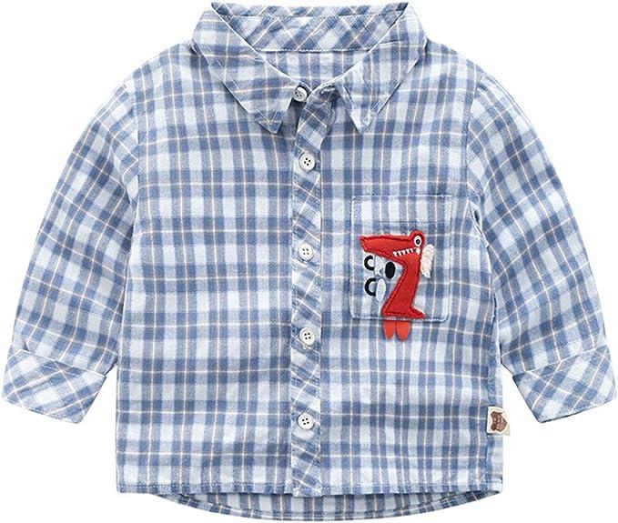 Betusline Kids Baby Boys Long Sleeve Plaid Shirt