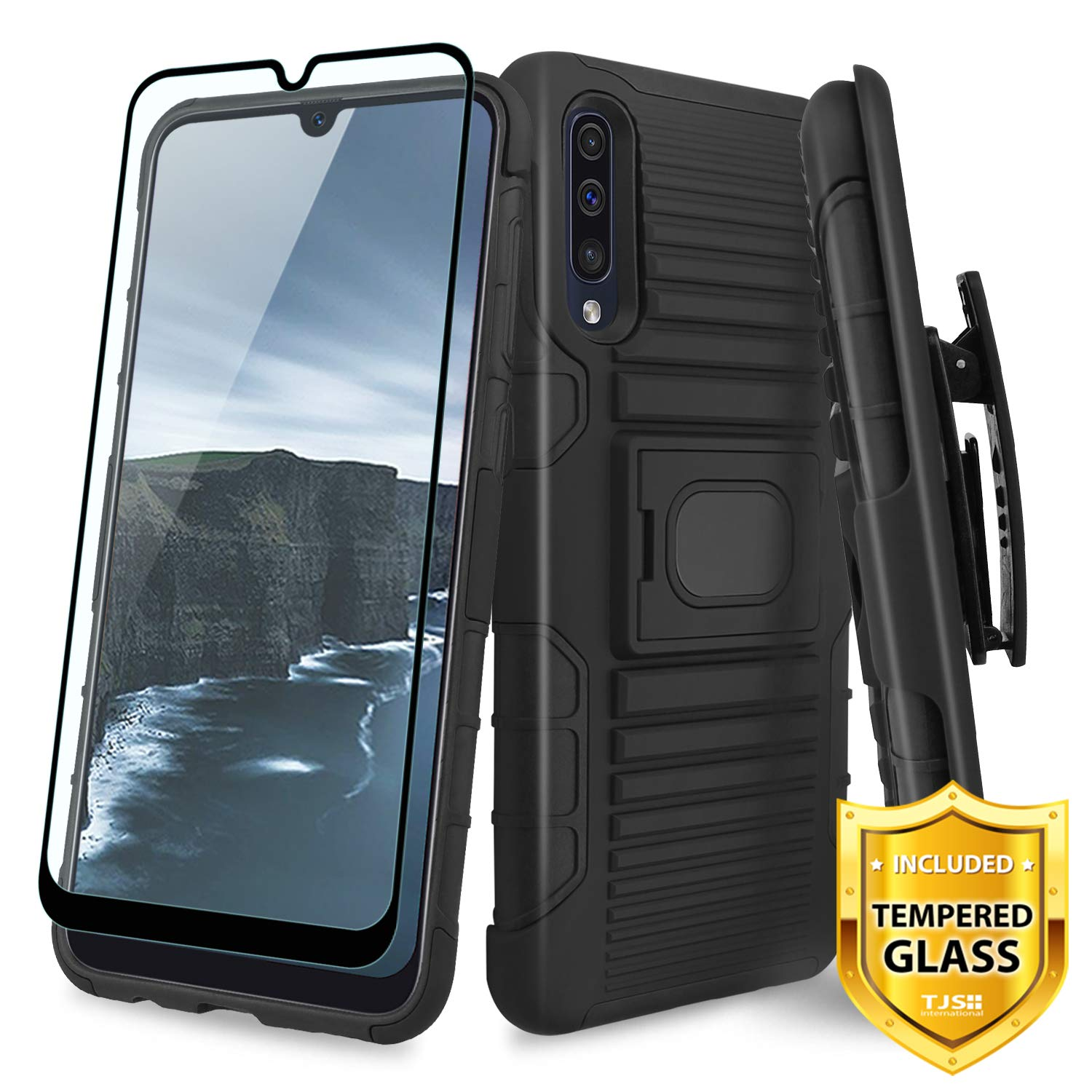 TJS Case for Samsung Galaxy A50 2019, with [Full Coverage Tempered Glass Screen Protector] Belt Clip Holster Impact Resistant Magnetic Support Hybrid Kickstand Heavy Duty Armor Phone Cover (Black) by TJS
