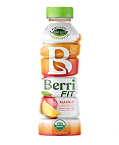 Berri Fit Mango Organic Sports Drink Alternative with Natural Plant-Based Electrolytes, Low Calorie Fitness Beverage, Non-GMO, Paleo Friendly, 16oz, Pack of 12