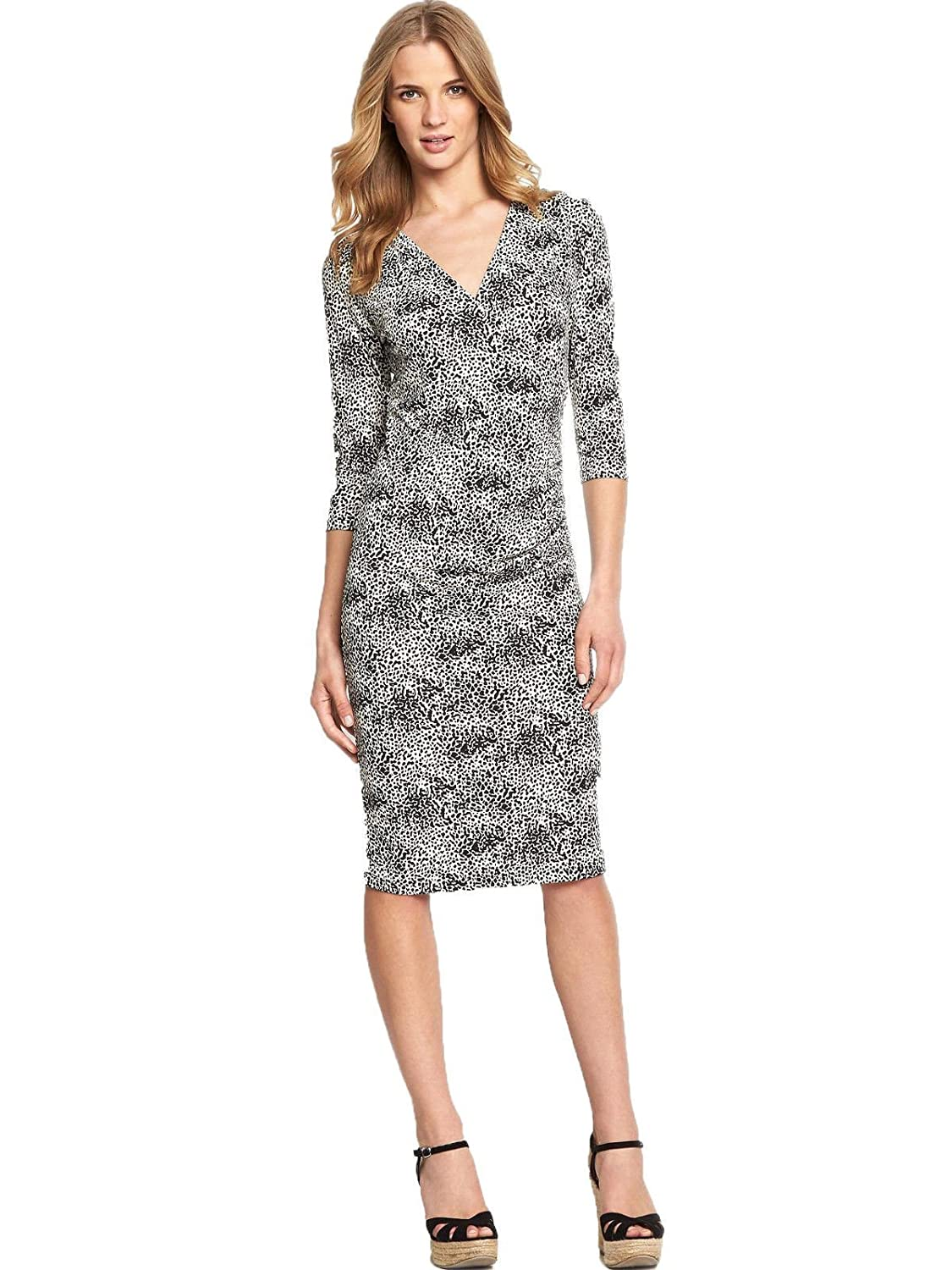 Ladies South Animal Print Ruched Side Wrap Style Stretchy Dress. Sizes 18-22