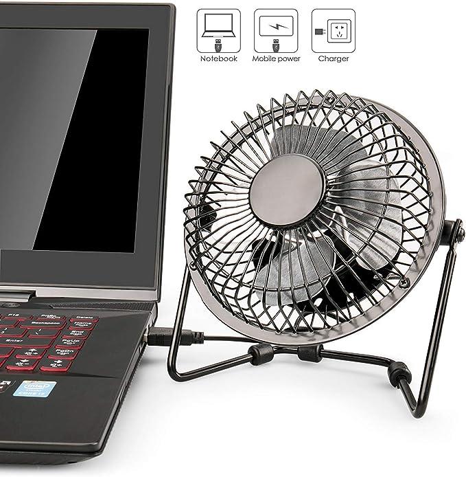 Lileng Ventilador USB, Ventilador de Escritorio de Metal USB de 10,16cm Mini Ventilador silencioso portátil Ventilador de refrigeración Ordenador portátil PC Mesa de Escritorio: Amazon.es: Hogar