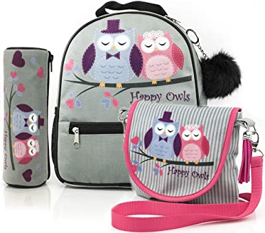 Happy Owls Collection mochila + estuche + bolso/listo para una niña/Mochila y estuche con búhos/ premium quality made in Europe: Amazon.es: Ropa y accesorios