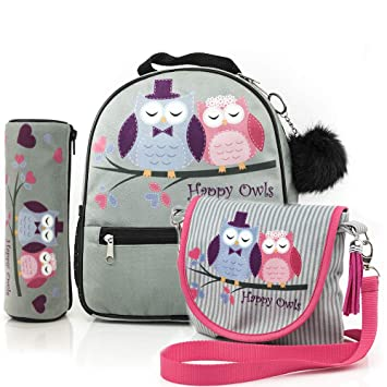 Happy Owls Collection mochila + estuche + bolso/listo para una niña/Mochila y estuche con búhos/ premium quality made in Europe: Amazon.es: Equipaje