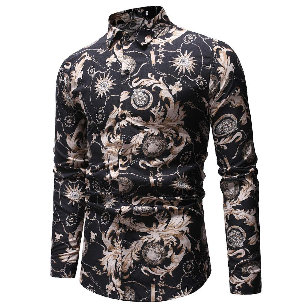 Islandse❤Mens New Pattern Casual Fashion Lapel Printing Long Sleeved Shirt