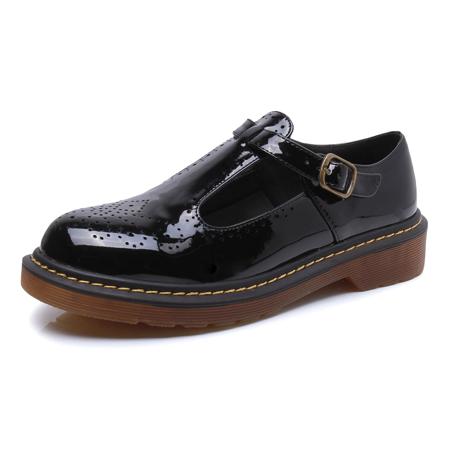Smilun Girl¡¯s Derby Classic Lace-up Shoes Pantent Leather Flats Pantent Leather Office Business Dress Shoes for Girl Black Size 6 B(M) US