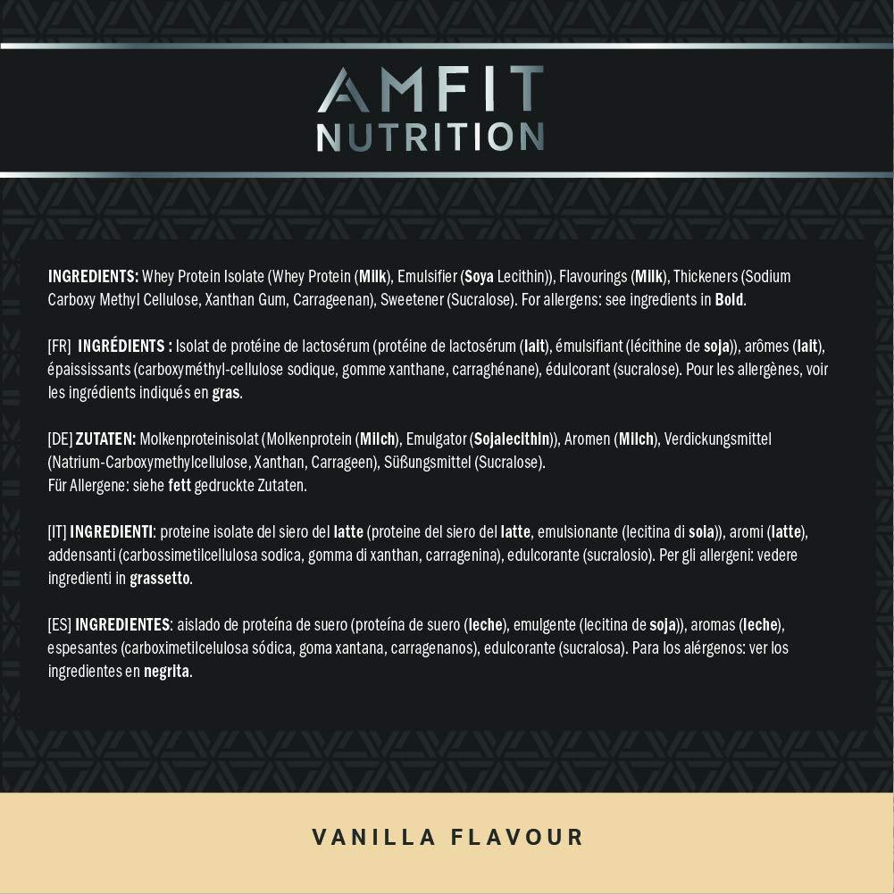 Marca Amazon - Amfit Nutrition Performance Proteína Whey de suero de leche (100% aislados de suero de leche), sabor vanilla, 33 porciones 990 g: Amazon.es: ...