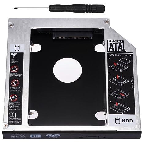 Zacro SATA HDD HD SATA Segundo 2.5 Disco Duro Caddy/Optical Bahía de Disco Duro SATA de 12,7 mm Portátil de CD/DVD-ROM de HP Sony Acer IBM ASUS ...