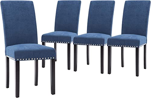 NOBPEINT Dining Chair Upholstered Fabric Dining Chairs with Copper Nails,Set of 4,Blue