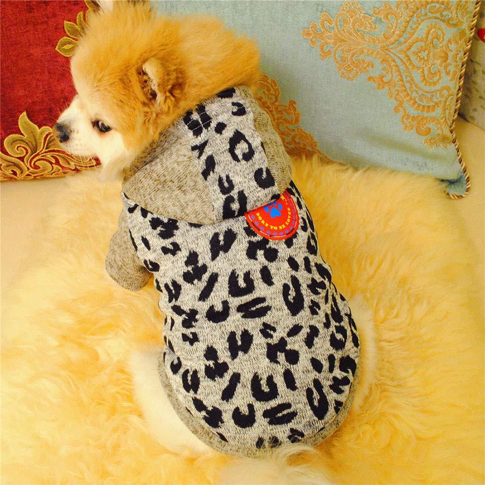 Glumes Pet Clothes, Puppy Hoodie Sweater Dog Coat Fleece Villus Warm Sweatshirt Leopard Print Printed Shirt for Small Dog Medium Dog Or Cat (M, gray)