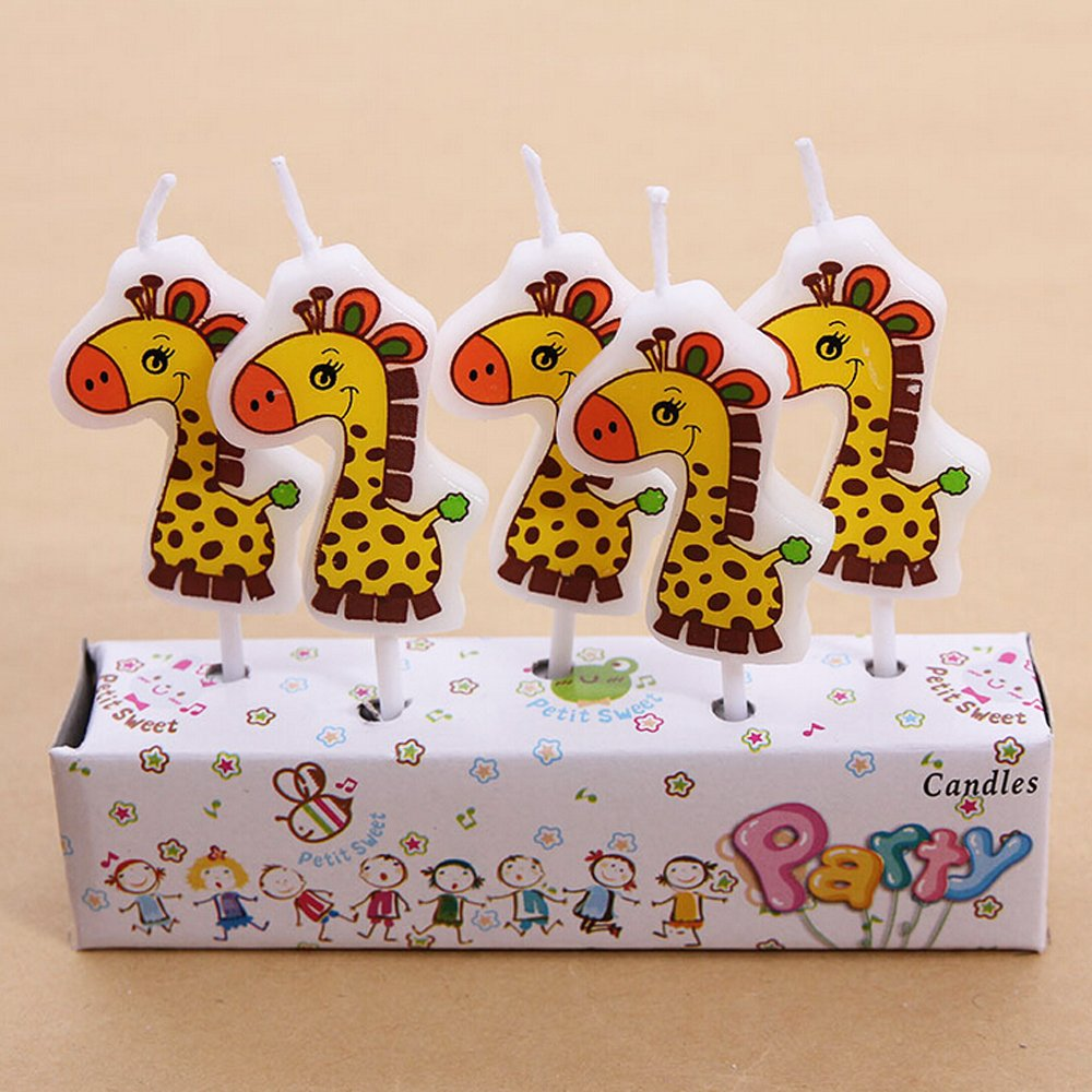 Zongheng Ecape Cartoon Animal Party Candles Adorable Giraffe Candles Handmade Craft Candles Western Cake Decoration Cake Candles 5 Candles a Set by Ecape (Image #5)
