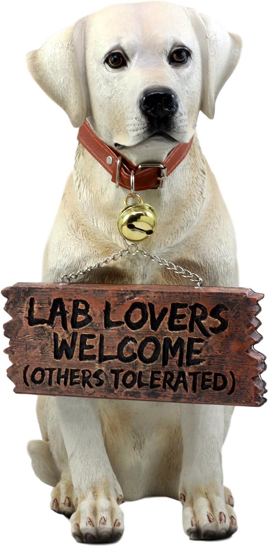"Ebros Gift Yellow Labrador Retriever Statue 13.25"" H Golden Retriever Dog with Jingle Collar and Greeting Sign As Patio Welcome Home Decor Sculpture"