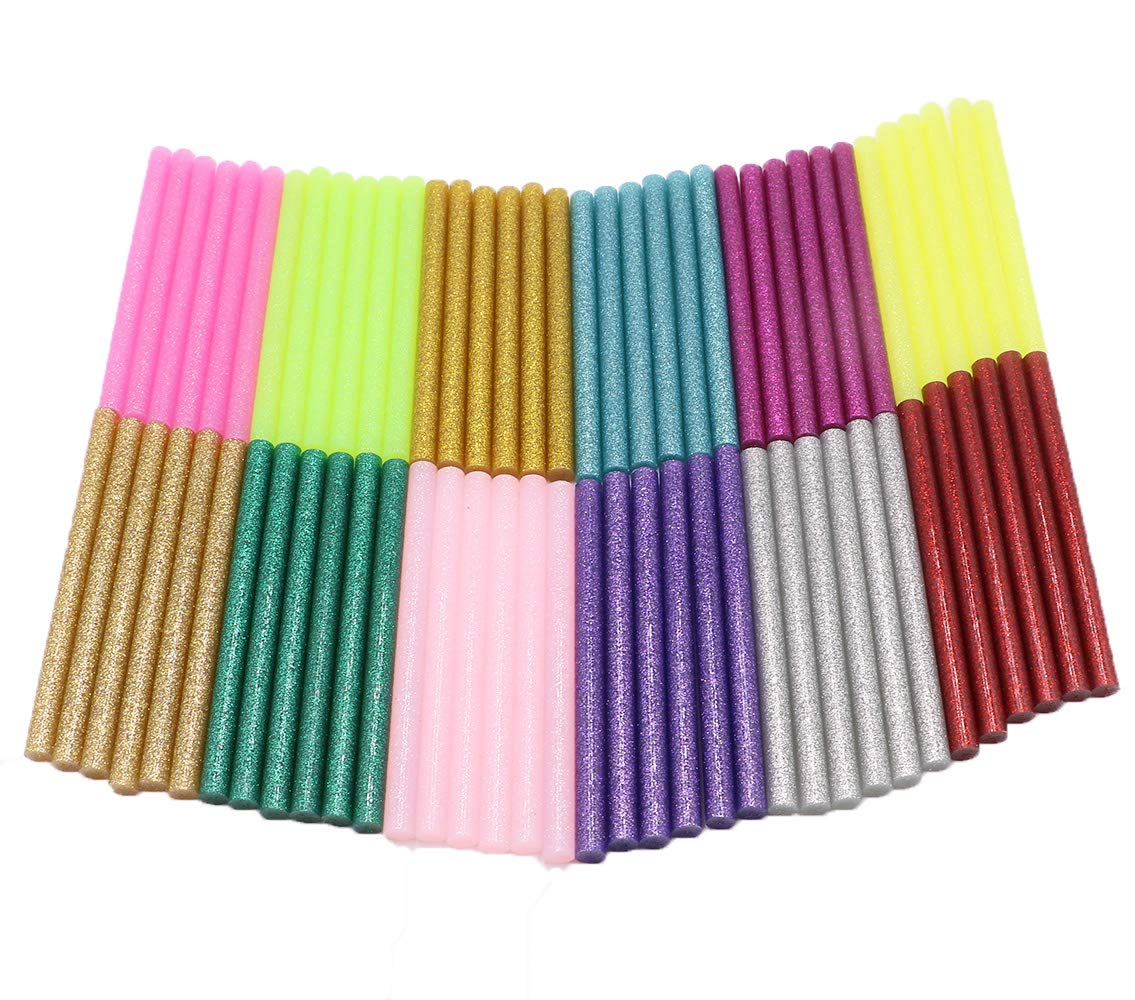 YEJI 72Pcs(12 Color) Hot Glue Sticks 0.27'' Diameter 4'' Length, Hot Melt Glue Sticks Mini Glitter for DIY Art Craft Woodworking, Suitable for Mini Hot Glue Gun Toy &DIY Repair Accessories