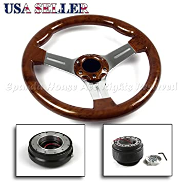 Fit 84-97 Toyota Corolla Ae86 350Mm Wood Chrome Steering Wheel+Hub+
