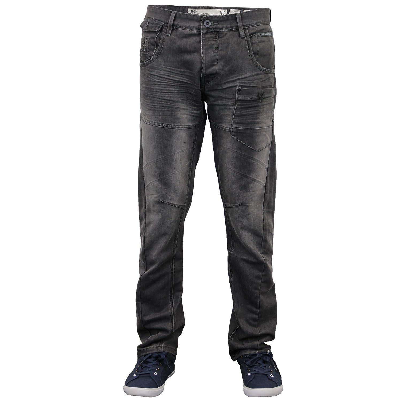 BNWT Crosshatch Mens Designer Branded Twisted Leg Tapered Fit Jeans