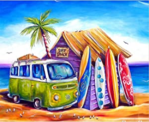 Lapoea DIY Oil Painting Paint by Number Kits Painting for Adults and Kids Arts Craft for Home Wall Decor Surf Shack 40x50CM