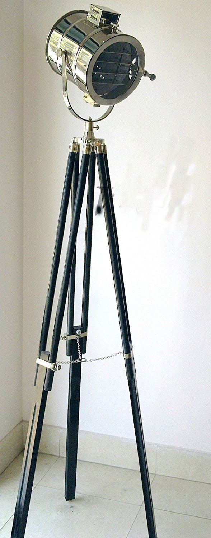 Nautical Marine 74'' Hollywood Studio Floor Lamp Wooden Tripod Search Light