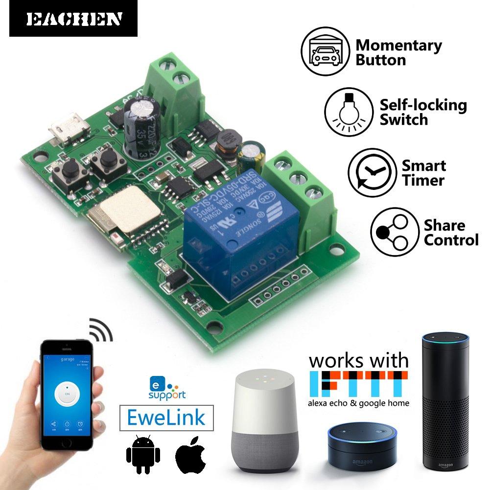 Eachen Wifi Wireless Inching Relay Monentary Self Locking Switch 12 Volt Timer Maplin Module Diy Smart Garage Door Dc 5 32v Ac90 260v Ewelink App Compatible With Alexa Echo