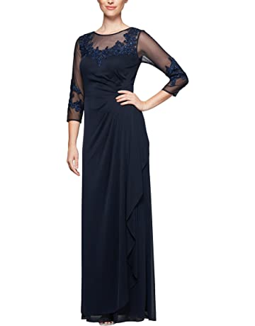 6851419df Alex Evenings Women's Long A Line Illusion Sweetheart Neck Dress (Petite and  Regular)