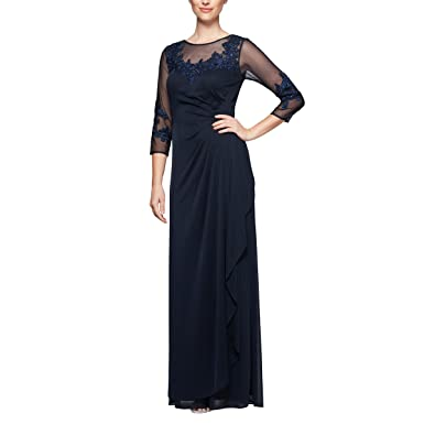 Alex Evenings Womens Plus Size Long A Line Dress With Sleeves At