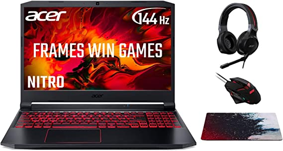 Acer Nitro 5 AN515-44 15.6 Inch Gaming Laptop (AMD Ryzen 5 4600H, 8GB RAM, 512GB SSD, NVIDIA GTX 1650Ti, Full HD 144Hz Display, Windows 10, Black), Plus Headset/Mouse/Mouse Pad - Amazon Exclusive: Amazon.co.uk: Computers & Accessories