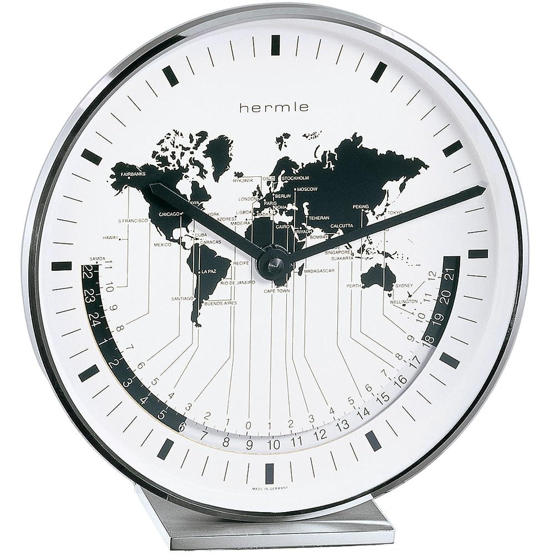 HERMLE Quarz - Stiluhr  - Metalltischuhr  - vernickelt  - mit Weltzeit - Anzeige  - ca. 19 cm hoch  - ca. 18 cm breit