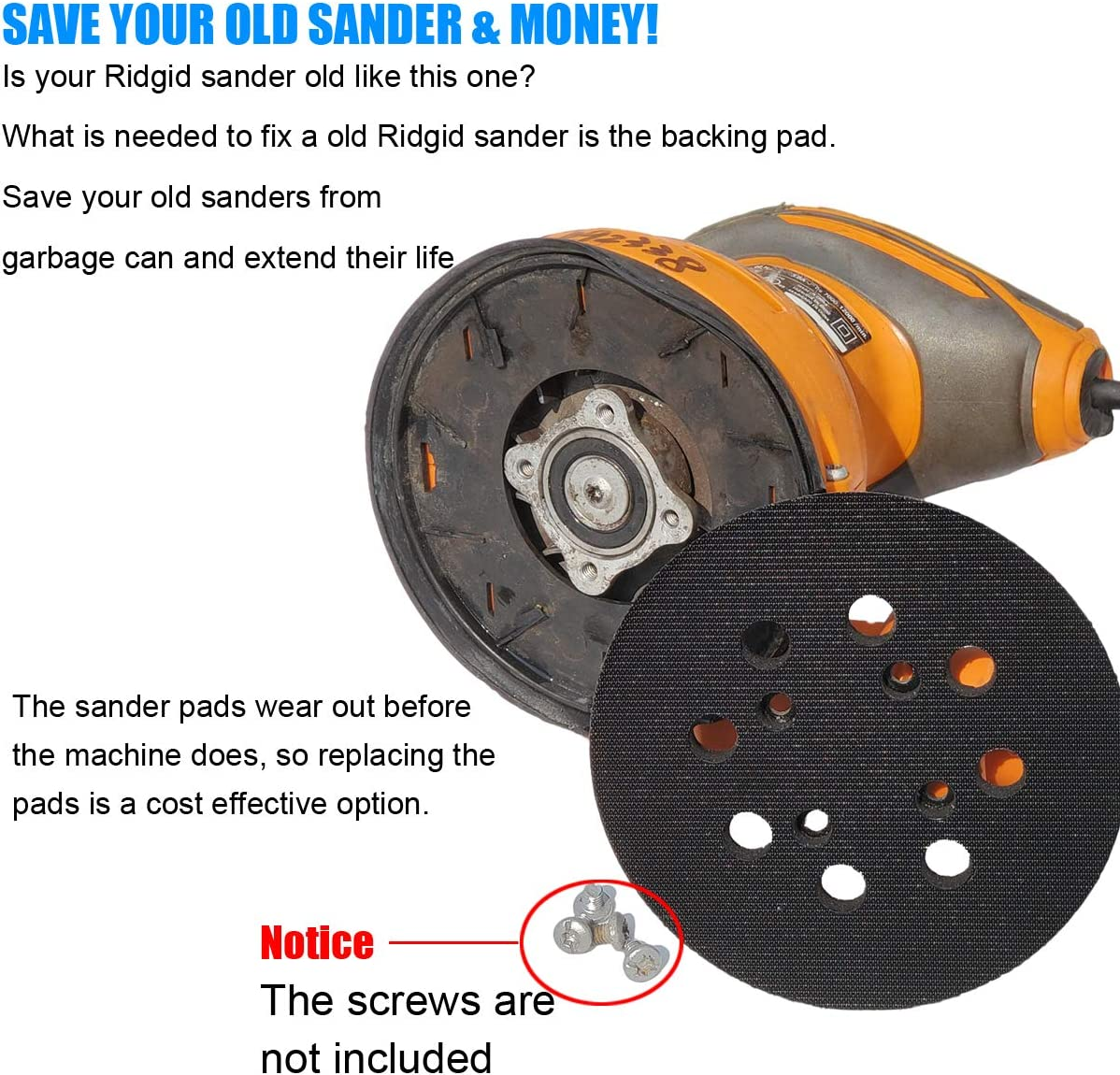 R2601 Random Orbit Sanders 5 Hook and Loop Sander Pad for Ridgid R2600 with Extra Hard Backing Replacement for Pad Part Number 300527002