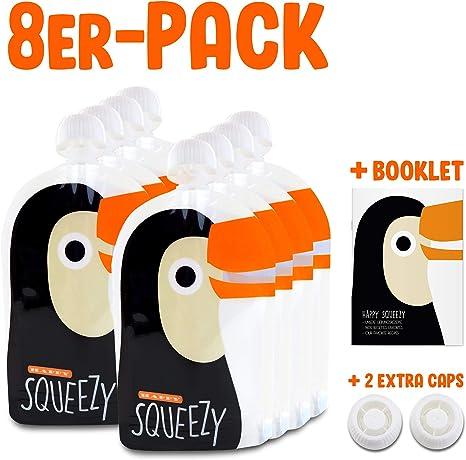 175 ml Bolsas de comida para b/éb/és reutilizables adecuado para congelador y lavavajillas papi pack de 6 ideal para batidos de fruta caseros f/ácil de llenar y limpiar sin BPA