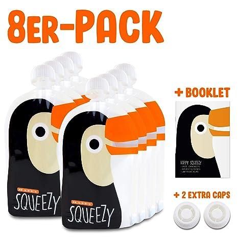 Happy Squeezy (8 bolsas) bolsas de comida para bebés reutilizables - ideal para batidos de fruta caseros, papilla para bebés, yogurt, 170ml, sin BPA, ...
