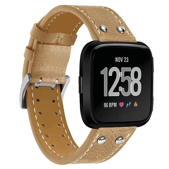 Correa de Reloj Casual, YpingLonk Doble Clavo para Fitbit Versa Watch Original Pulsera Banda Más