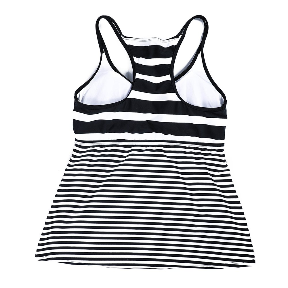 DUSISHIDAN Women Black & White Stripe Swim Top Tummy Control, XL by DUSISHIDAN (Image #6)