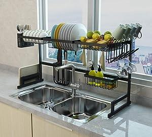 Stainless Steel Black Dish Drying Rack Over Kitchen Sink, Dishes and Utensils Draining Shelf, Kitchen Storage Countertop Organizer, Utensils Holder, Kitchen Space Saver (For Sink ≤ 33.5 inch)