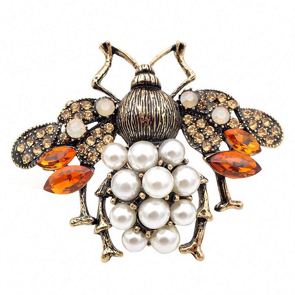 Jana Winkle 3 Colors Choose Pearl Rhinestone Big Bee Brooches Women Insect Pin Gift Coffee