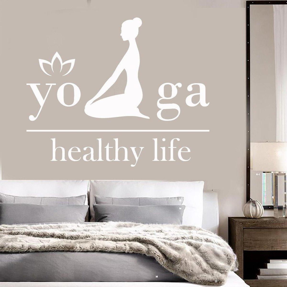 Amazon.com  wonbye Yoga Wall Stickers Meditation Vinyl Lotus for Girls Women  Wall Decal Home Bedding Decor Nursery Wall Mural Letter Healthy Life(39