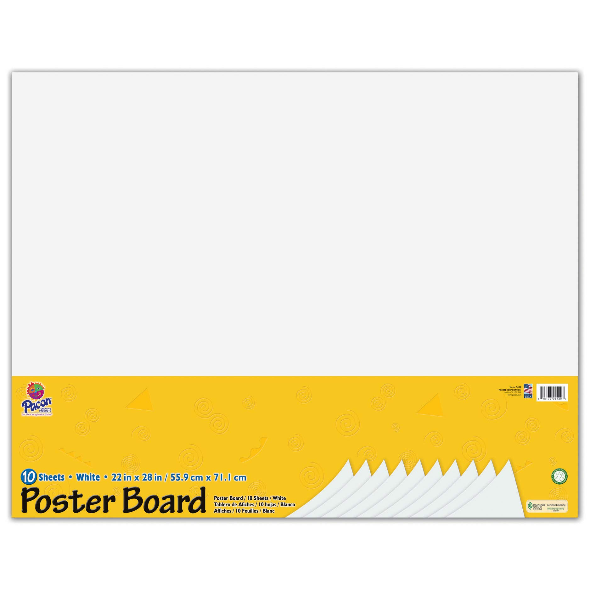 Pacon PAC5420BN Poster Board, White, 22'' x 28'', 10 Sheets Per Pack, 3 Packs by PACON