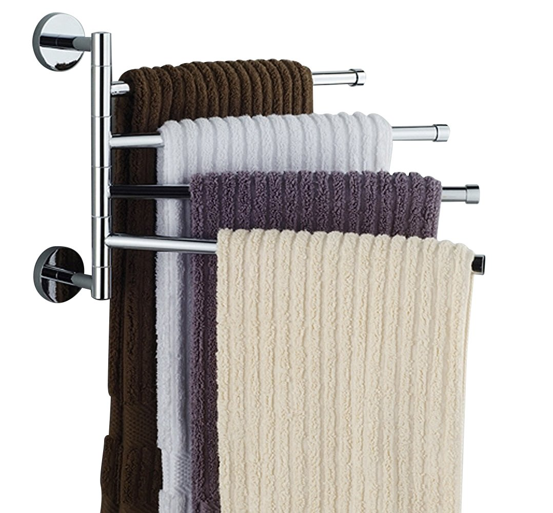 Amazon.com: Bekith 16 Inch Wall Mounted Stainless Steel Swivel Bars Bathroom  Towel Rack Hanger Holder Organizer (4 Arm): Home U0026 Kitchen