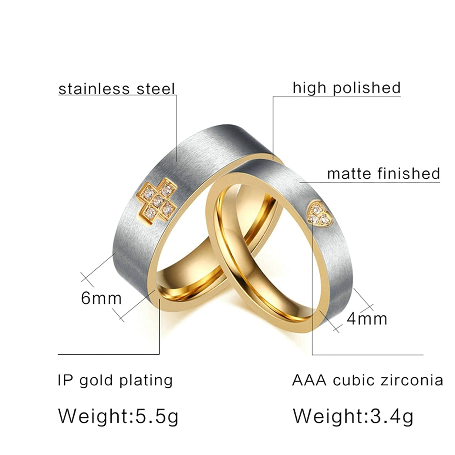 Amazon.com: Daesar Wedding Rings Stainless Steel Silver & Gold Cross Heart Cz Rings 4/6 Mm Women Size 5 & Men Size 10: Jewelry