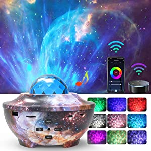 Star Night Light Projector,Homcasito Smart WiFi Galaxy Ocean Wave Projector with Bluetooth Speaker21 Lighting Work with Alexa Google Home Gifts for Adults Kids Bedroom Ceiling Party(WiFi)
