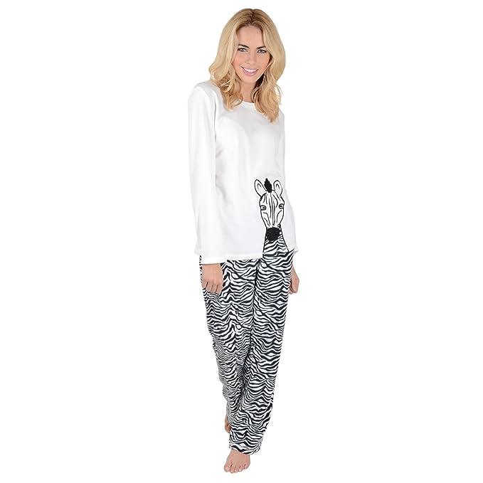 0813ab3fd Ladies Zebra Animal Fleece Pyjama Set PJs Black   White Top ...
