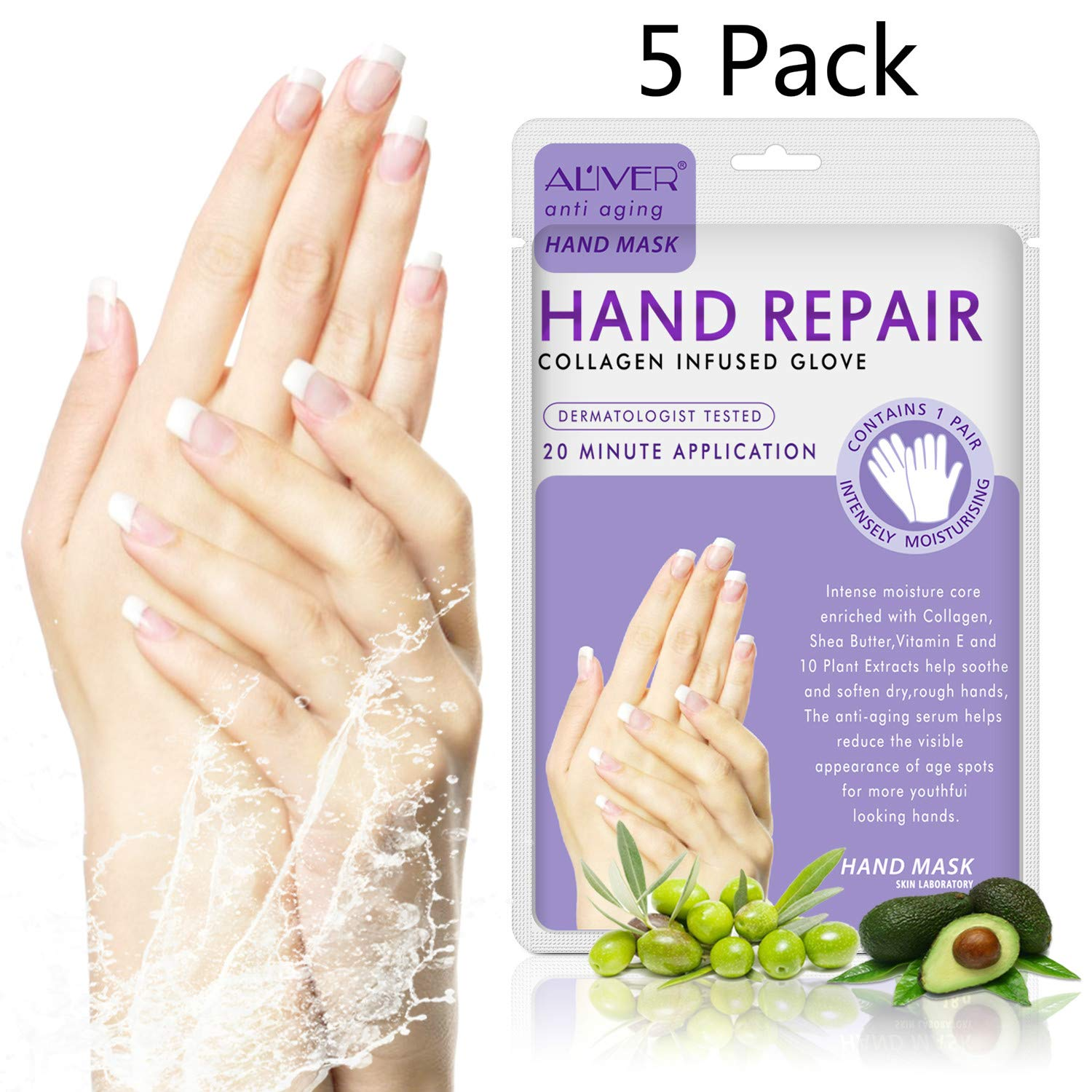 5 Pairs Hands Moisturizing Gloves, Hand Skin Repair Renew Mask w/Infused Collagen, Vitamins + Natural Plant Extracts for Dry, Aging, Cracked Hands (5 Pairs Hand mask)